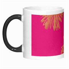 Yellow Flowers On Pink Background Pink Morph Mugs by Jojostore