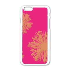 Yellow Flowers On Pink Background Pink Apple Iphone 6/6s White Enamel Case by Jojostore