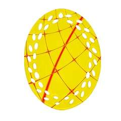 Yellow Redmesh Oval Filigree Ornament (2 Side)  by Jojostore