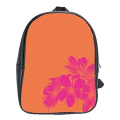 Flower Orange Pink School Bags (xl)  by Jojostore