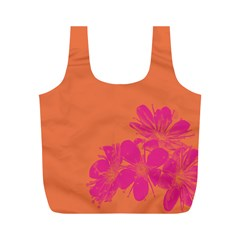 Flower Orange Pink Full Print Recycle Bags (m)  by Jojostore