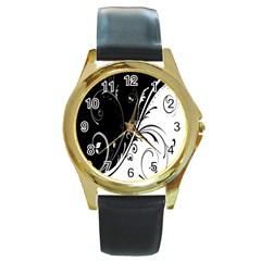 Flower Black White Round Gold Metal Watch by Jojostore