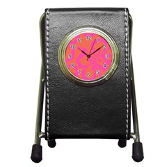 Flower Pink Orange Pen Holder Desk Clocks by Jojostore