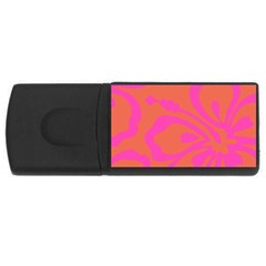 Flower Pink Orange Usb Flash Drive Rectangular (4 Gb)  by Jojostore