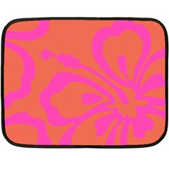 Flower Pink Orange Fleece Blanket (mini) by Jojostore
