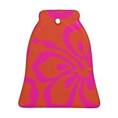 Flower Pink Orange Ornament (bell)  by Jojostore