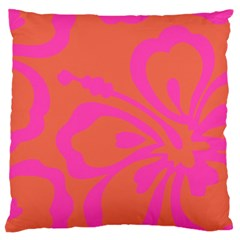 Flower Pink Orange Large Cushion Case (two Sides) by Jojostore