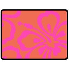 Flower Pink Orange Double Sided Fleece Blanket (large)  by Jojostore