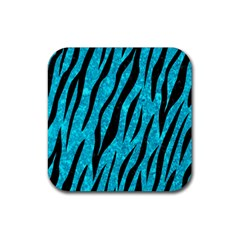 Skin3 Black Marble & Turquoise Marble (r) Rubber Coaster (square) by trendistuff