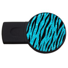 Skin3 Black Marble & Turquoise Marble (r) Usb Flash Drive Round (4 Gb) by trendistuff
