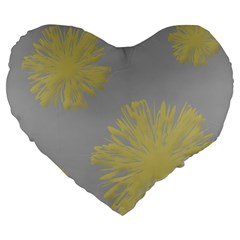 Flower Yellow Gray Large 19  Premium Flano Heart Shape Cushions by Jojostore
