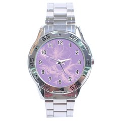 Flower Purple Gray Stainless Steel Analogue Watch