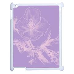 Flower Purple Gray Apple Ipad 2 Case (white)