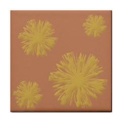 Flower Yellow Brown Tile Coasters by Jojostore
