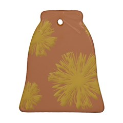 Flower Yellow Brown Bell Ornament (2 Sides) by Jojostore