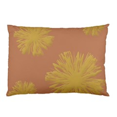Flower Yellow Brown Pillow Case (two Sides) by Jojostore