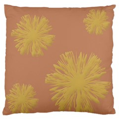 Flower Yellow Brown Large Flano Cushion Case (one Side) by Jojostore