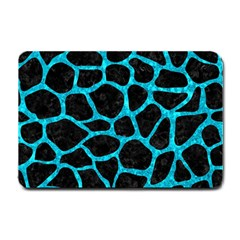 Skin1 Black Marble & Turquoise Marble (r) Small Doormat by trendistuff
