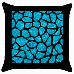 Skin1 Black Marble & Turquoise Marble Throw Pillow Case (black) by trendistuff