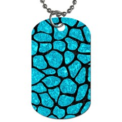 Skin1 Black Marble & Turquoise Marble Dog Tag (two Sides) by trendistuff