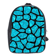 Skin1 Black Marble & Turquoise Marble School Bag (xl) by trendistuff