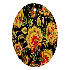 Flower Yellow Green Red Ornament (oval)  by Jojostore