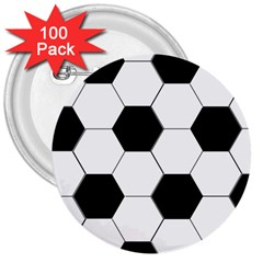 Foolball Ball Sport Soccer 3  Buttons (100 Pack)  by Jojostore