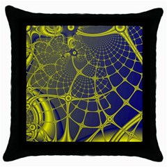 Futuristic Looking Fractal Graphic A Mesh Of Yellow And Blue Rounded Bars Throw Pillow Case (black) by Jojostore