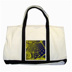 Futuristic Looking Fractal Graphic A Mesh Of Yellow And Blue Rounded Bars Two Tone Tote Bag by Jojostore