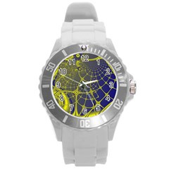 Futuristic Looking Fractal Graphic A Mesh Of Yellow And Blue Rounded Bars Round Plastic Sport Watch (l) by Jojostore