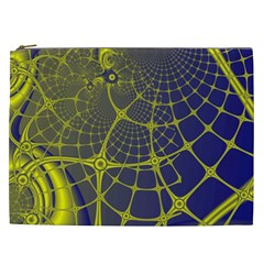 Futuristic Looking Fractal Graphic A Mesh Of Yellow And Blue Rounded Bars Cosmetic Bag (xxl)  by Jojostore