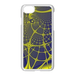 Futuristic Looking Fractal Graphic A Mesh Of Yellow And Blue Rounded Bars Apple iPhone 7 Seamless Case (White) by Jojostore