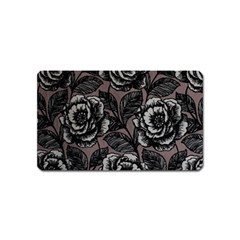 Gray Flower Rose Magnet (name Card) by Jojostore