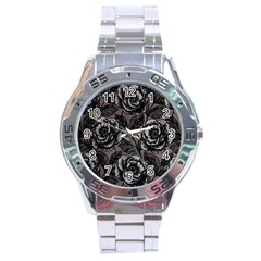 Gray Flower Rose Stainless Steel Analogue Watch by Jojostore