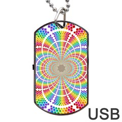 Color Background Structure Lines Dog Tag Usb Flash (one Side) by Amaryn4rt