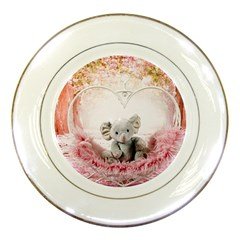 Elephant Heart Plush Vertical Toy Porcelain Plates by Amaryn4rt