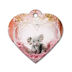 Elephant Heart Plush Vertical Toy Dog Tag Heart (one Side) by Amaryn4rt