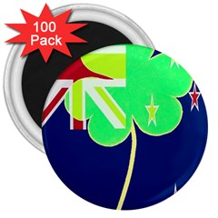 Irishshamrock New Zealand Ireland Funny St Patrick Flag 3  Magnets (100 Pack) by yoursparklingshop