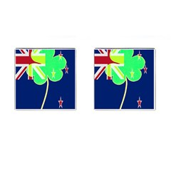 Irishshamrock New Zealand Ireland Funny St Patrick Flag Cufflinks (square) by yoursparklingshop