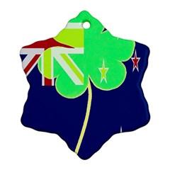 Irishshamrock New Zealand Ireland Funny St Patrick Flag Snowflake Ornament (2 Side) by yoursparklingshop