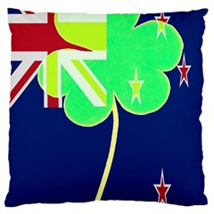 Irishshamrock New Zealand Ireland Funny St Patrick Flag Large Cushion Case (two Sides)