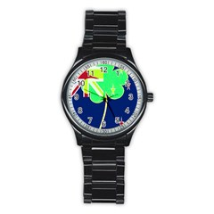 Irishshamrock New Zealand Ireland Funny St Patrick Flag Stainless Steel Round Watch by yoursparklingshop