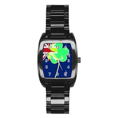 Irishshamrock New Zealand Ireland Funny St Patrick Flag Stainless Steel Barrel Watch by yoursparklingshop