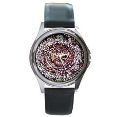 Mosaic Colorful Abstract Circular Round Metal Watch by Amaryn4rt
