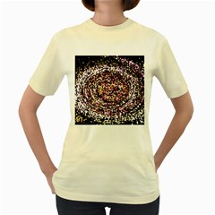 Mosaic Colorful Abstract Circular Women s Yellow T Shirt by Amaryn4rt
