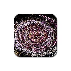 Mosaic Colorful Abstract Circular Rubber Coaster (square)  by Amaryn4rt