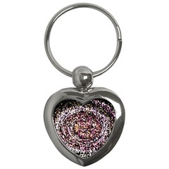 Mosaic Colorful Abstract Circular Key Chains (heart)  by Amaryn4rt