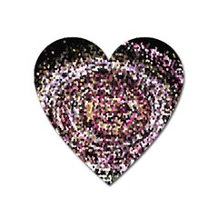 Mosaic Colorful Abstract Circular Heart Magnet by Amaryn4rt
