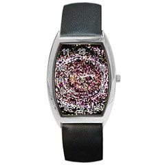 Mosaic Colorful Abstract Circular Barrel Style Metal Watch by Amaryn4rt