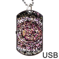 Mosaic Colorful Abstract Circular Dog Tag Usb Flash (one Side) by Amaryn4rt